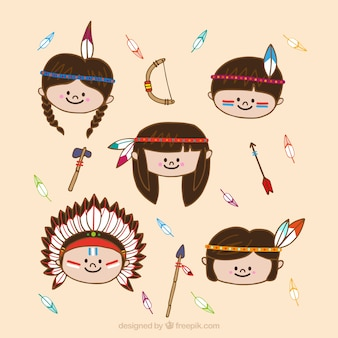 Flat indian enfants personnage collection