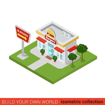Flat isométrique burger restaurant bloc de construction concept infographique coin de rue restauration rapide hamburgers frites dîner au cola construire votre propre collection mondiale d'infographie