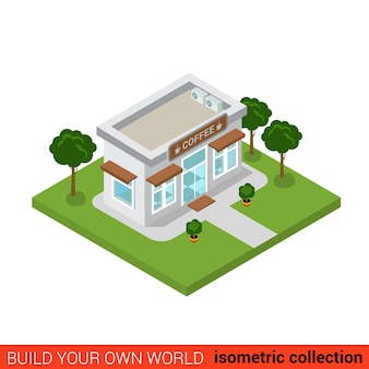 Flat isométrique café café restaurant maison bloc de construction concept infographique construisez votre propre collection mondiale d'infographie