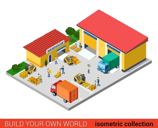 Flat d isométrique concept graphique d'informations de bloc de construction d'entrepôt moderne créatif