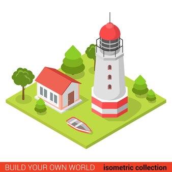Flat d isométrique créatif moderne phare bateau bloc de construction info concept graphique