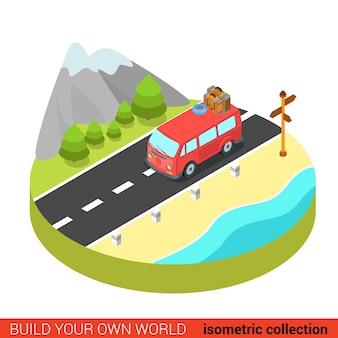 Flat d isométrique hippie van mountain road concept graphique d'informations modernes
