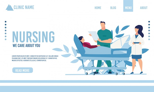 Flat landing page advertising nursing service