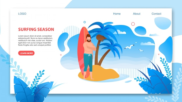 Flat landing page annonçant la nouvelle saison de surf.
