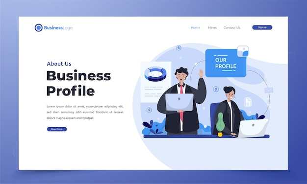 Flat notre profil d'entreprise pour le thème du rapport annuel sur la page de destination