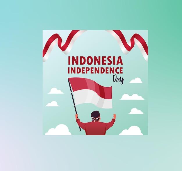 Flat pahlawan heroes grab flat independence day indonésien