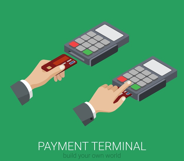 Flat d paiement par carte de crédit isométrique pos terminal code pin utilisation web infographie concept