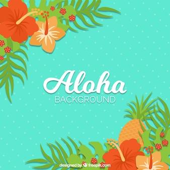 Flat pinapple aloha background