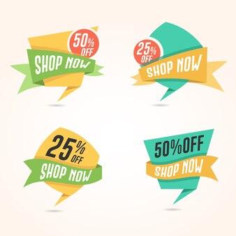 Flat shop now, propose des badges pour les sites web de bannières et de commerce électronique
