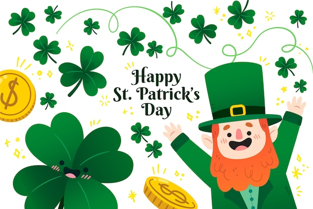 Flat st. patrick's day avec leprechaun illustré