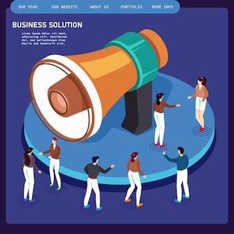 Flat web isométrique bureau chambre intérieur hommes d'affaires collaboration travail d'équipe brainstorming attente réunion négociation infographie concept défini. collection de personnes créatives