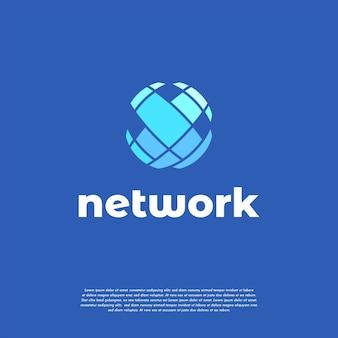 Flat world tech logo design, modèle de logo de technologie abstraite, globe, icône de vecteur de sphère