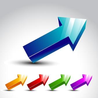 Flèche 3d en différentes couleurs
