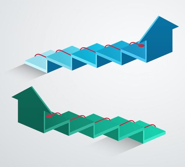 Flèche 3d avec pointeur ascendant rouge. structure de croissance de l'entreprise bleue et verte
