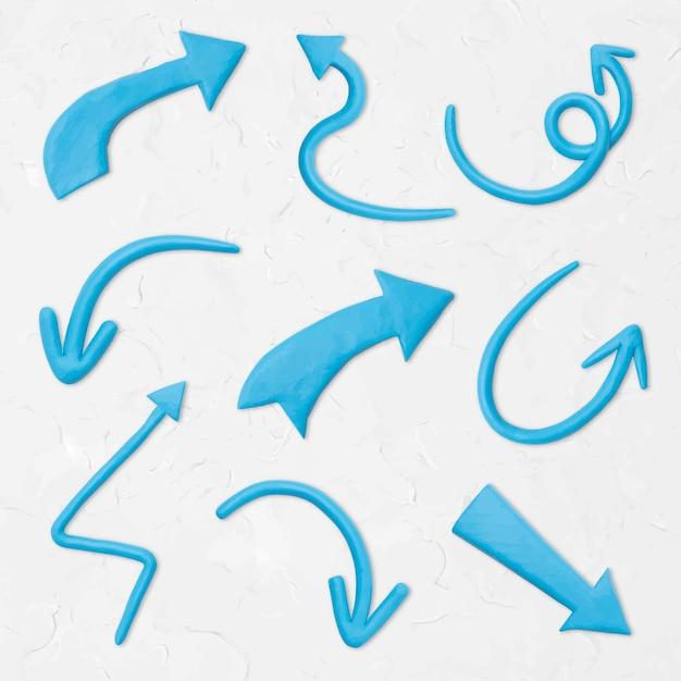 Flèche bleue argile texture vecteur graphique artisanal pour les enfants ensemble