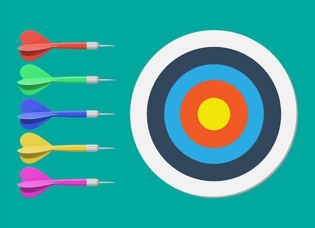 Flèche cible et fléchette. fixation d'objectifs. objectif intelligent. concept de cible commerciale. réalisation et succès. illustration dans un style plat