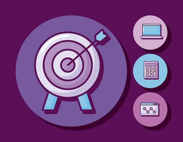 Flèche de cible avec icônes définies