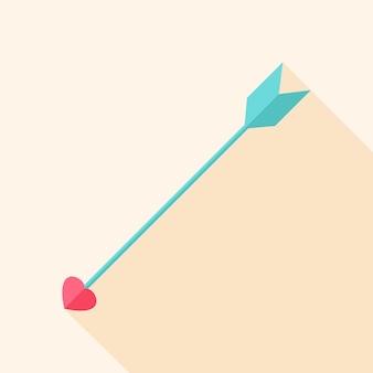 Flèche avec coeur. objet stylisé plat avec ombre portée