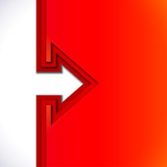 Flèche colorée avec des couches de papier découpé rouge