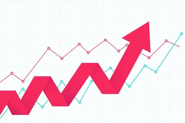La flèche commerciale définit le concept d'objectifs de réussite la croissance financière a augmenté le retour sur investissement.
