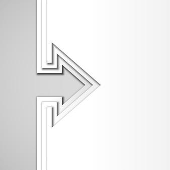 Flèche avec des couches de papier découpé blanc
