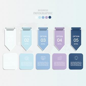Flèche de couleur bleue infographie et icônes