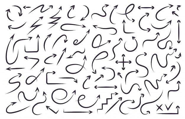 Flèche définie main dessiner style dynamique