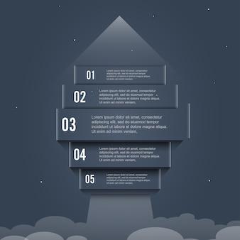 Flèche démarrage bannière options infographie