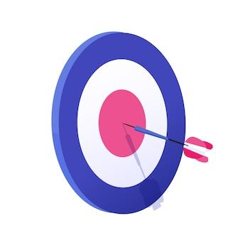 Flèche de dessin animé exactement sur l'illustration graphique vectorielle cible. atteindre l'objectif, résultat de la stratégie commerciale réussie isolé sur fond blanc. le tir à l'arc vise la réalisation du jeu sportif et du travail.