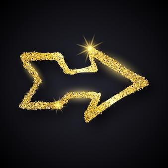 Flèche dessinée à la main de paillettes d'or. flèche de doodle avec effet de paillettes d'or sur fond sombre. illustration vectorielle