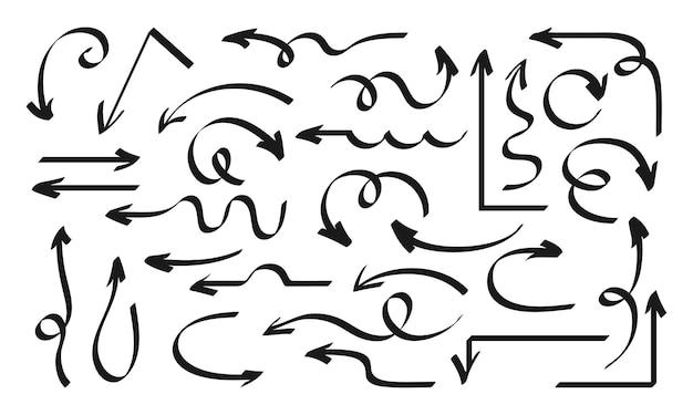 Flèche dessinés à la main ensemble noir formes marqueur design éléments collection icône pointeurs