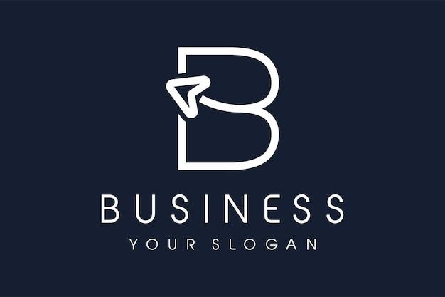 Flèche du logo b. lettre b design vector illustration icône de ligne mono moderne.