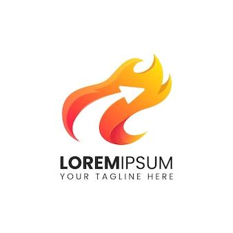 Flèche flamme feu rapide logistique logo design abstrait vectoriel