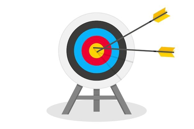 Flèche frappant la cible concept atteignant l'objectif dans le défi d'opportunité d'objectif d'investissement commercial