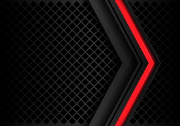 Flèche grise rouge abstraite sur un carré noir