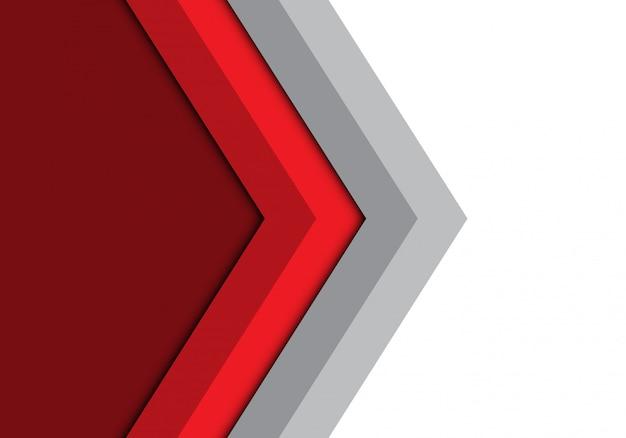 Flèche grise rouge direction isolée fond.