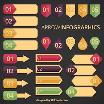 Flèche infographies en style vintage