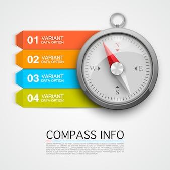 Flèche d'informations boussole. infographie clé, flèche d'informations de navigation. illustration vectorielle