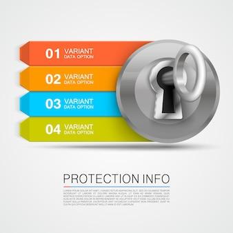 Flèche d'informations sur la protection. infographie clé, flèche d'informations sur le cadenas. illustration vectorielle