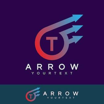Flèche initiale lettre t logo design