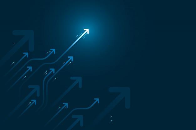 Flèche légère vers le haut du circuit sur fond bleu foncé avec illustration de copie espace copie, concept de croissance d'entreprise.