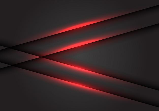 Flèche de ligne de lumière rouge sur fond d'espace vide gris foncé.