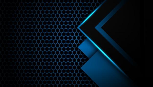 Flèche de lumière bleue abstraite sur fond noir avec fond technologie futuriste de luxe hexagone