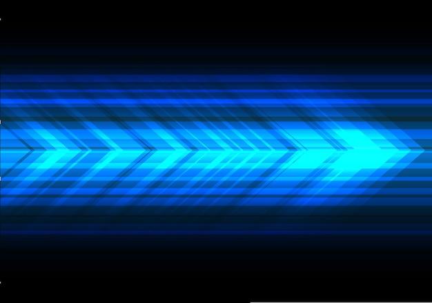 Flèche de lumière bleue vitesse technologie fond noir.