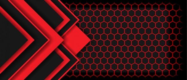 Flèche de lumière rouge abstraite noire avec fond technologie futuriste de luxe hexagone