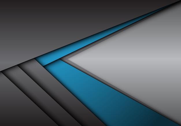 Flèche métallique bleu gris abstrait direction avec fond blanc.