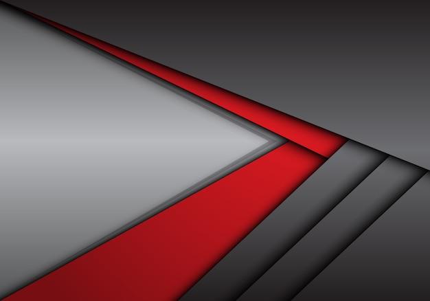 Flèche métallique rouge gris abstrait direction avec fond blanc.
