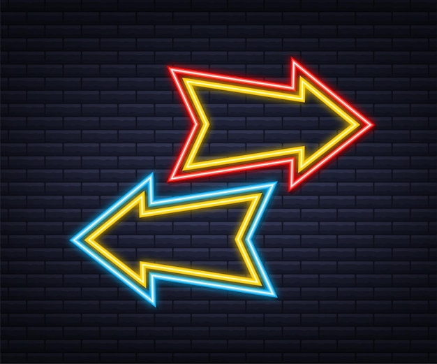 Flèche de néon bleu 3d sur fond sombre lumière blanche de vecteur