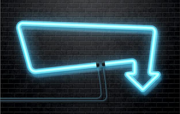Flèche de néon bleu isolée sur le mur de briques noires