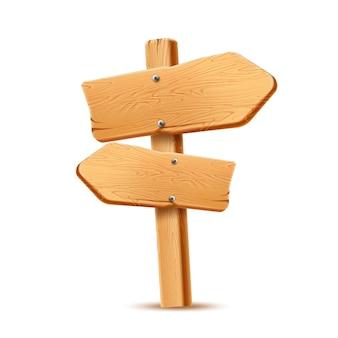 Flèche de panneau en bois réaliste